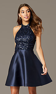 Image of sequin-halter-bodice short satin homecoming dress. Style: MY-7454YP1P Front Image