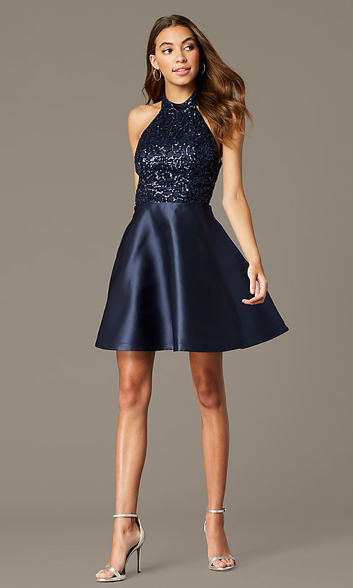 Image of sequin-halter-bodice short satin homecoming dress. Style: MY-7454YP1P Detail Image 1