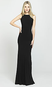 Image of Madison James long open-back formal prom dress. Style: NM-19-104 Detail Image 3