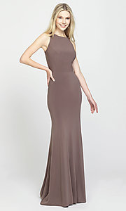 Image of Madison James long open-back formal prom dress. Style: NM-19-104 Detail Image 5