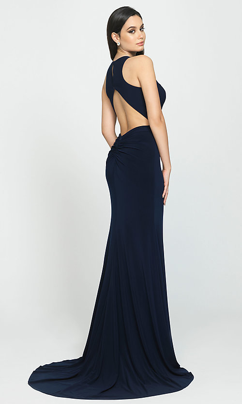 Image of Madison James long open-back formal prom dress. Style: NM-19-104 Back Image