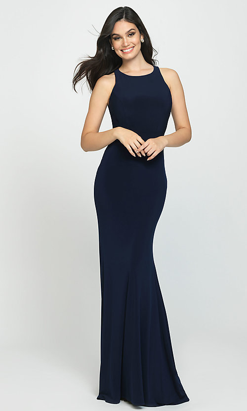 Image of Madison James long open-back formal prom dress. Style: NM-19-104 Front Image