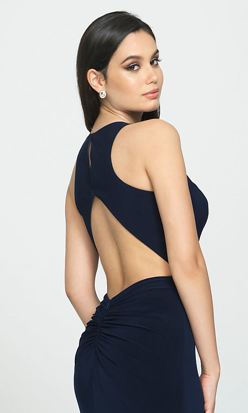Image of Madison James long open-back formal prom dress. Style: NM-19-104 Detail Image 2