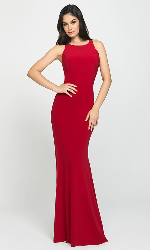 Image of Madison James long open-back formal prom dress. Style: NM-19-104 Detail Image 4