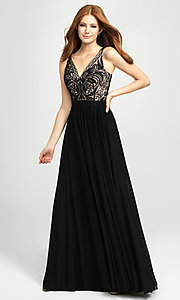 Image of Madison James long beaded-bodice formal prom dress. Style: NM-19-108 Detail Image 5