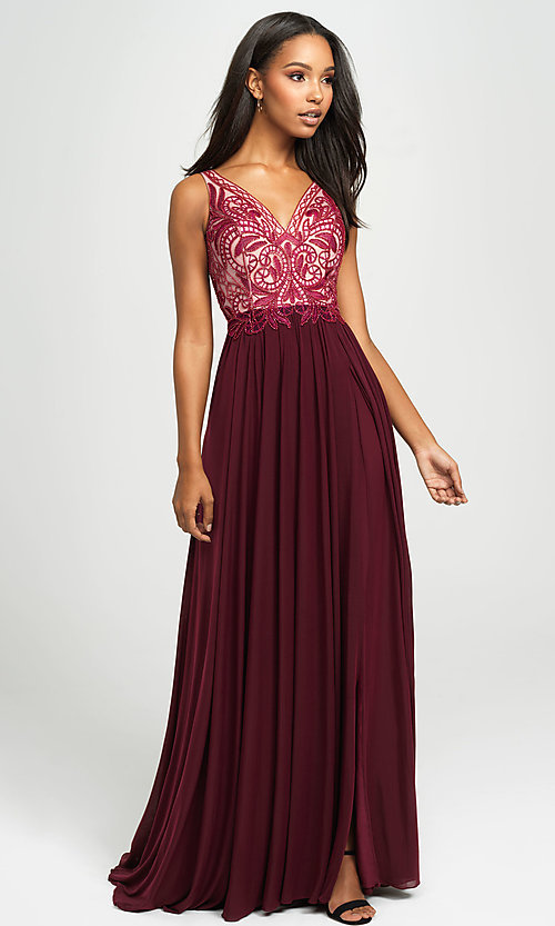 Image of Madison James long beaded-bodice formal prom dress. Style: NM-19-108 Detail Image 4