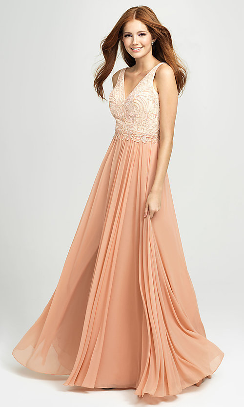 Image of Madison James long beaded-bodice formal prom dress. Style: NM-19-108 Front Image