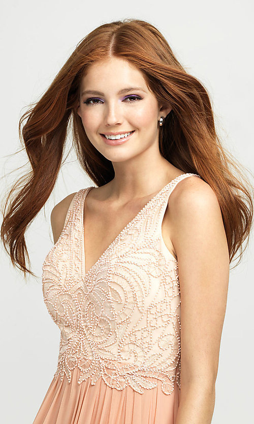 Image of Madison James long beaded-bodice formal prom dress. Style: NM-19-108 Detail Image 1