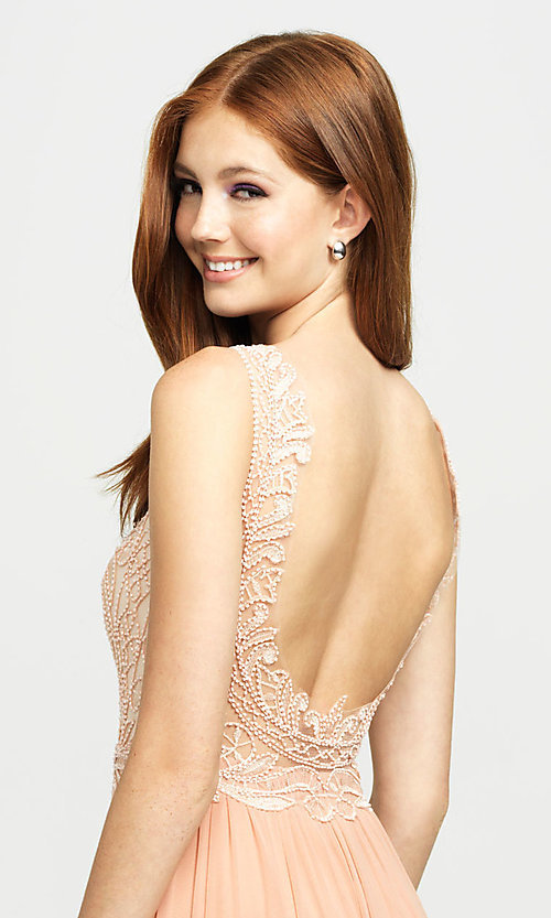 Image of Madison James long beaded-bodice formal prom dress. Style: NM-19-108 Detail Image 2