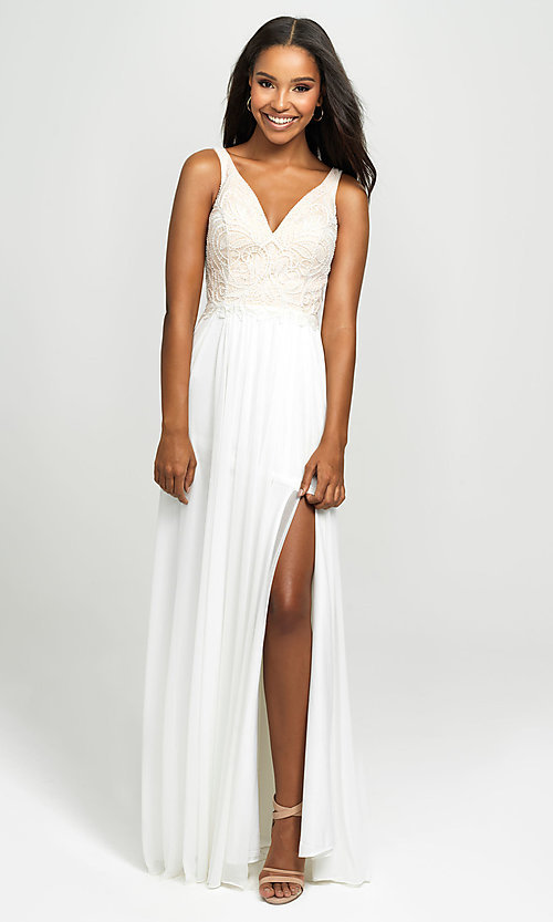 Image of Madison James long beaded-bodice formal prom dress. Style: NM-19-108 Detail Image 3