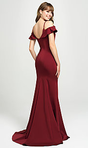 Image of cold-shoulder long prom dress by Madison James. Style: NM-19-109 Back Image