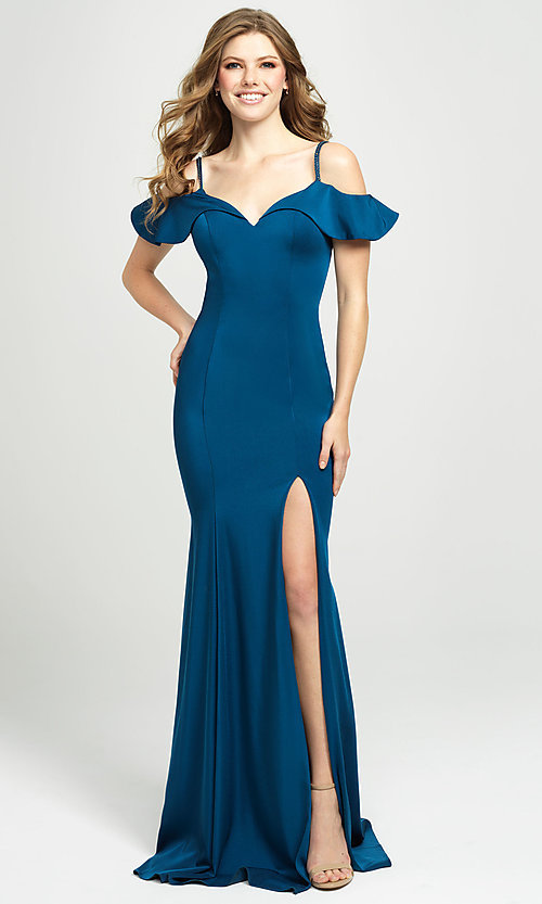 Image of cold-shoulder long prom dress by Madison James. Style: NM-19-109 Front Image