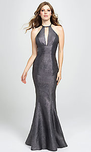 Image of long glitter formal prom dress with sweep train. Style: NM-19-112 Front Image
