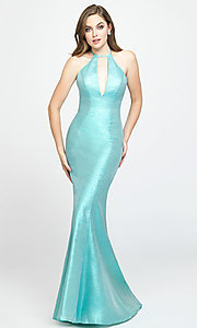 Image of long glitter formal prom dress with sweep train. Style: NM-19-112 Detail Image 4