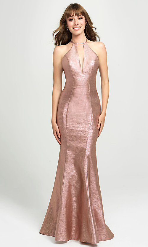 Image of long glitter formal prom dress with sweep train. Style: NM-19-112 Detail Image 3