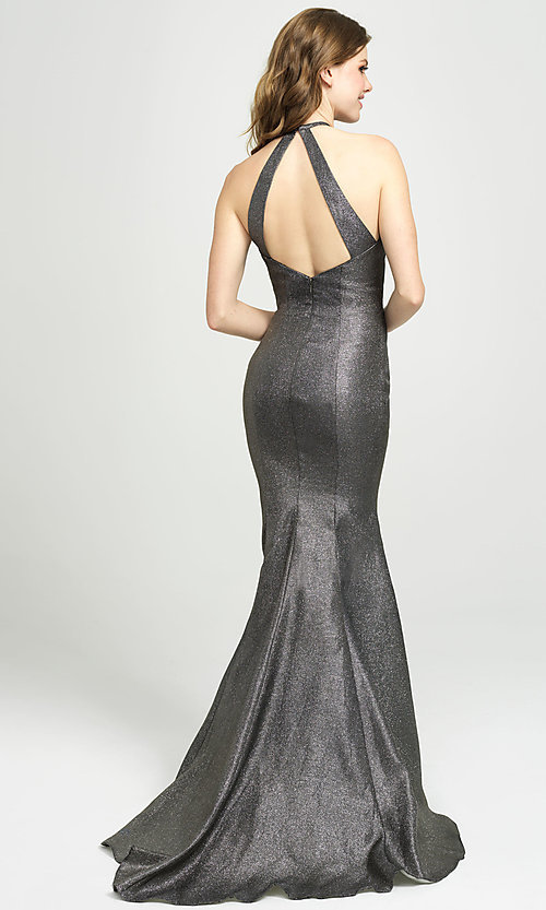 Image of long glitter formal prom dress with sweep train. Style: NM-19-112 Back Image