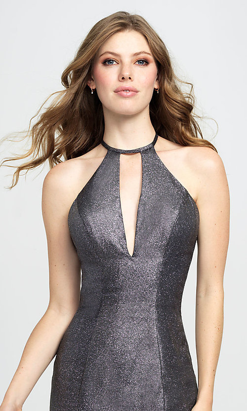 Image of long glitter formal prom dress with sweep train. Style: NM-19-112 Detail Image 1