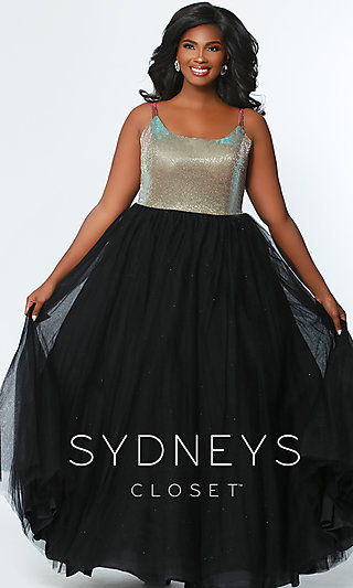 A-Line Plus Formal Gown with a Scoop Neckline