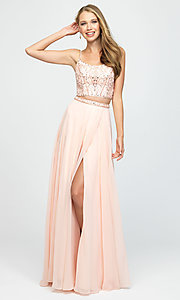 Image of long chiffon two-piece prom dress by Madison James. Style: NM-19-129 Front Image