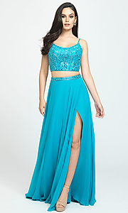 Image of long chiffon two-piece prom dress by Madison James. Style: NM-19-129 Detail Image 4