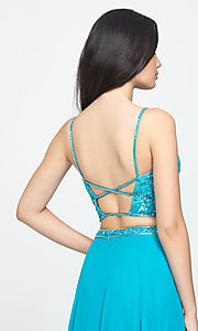 Image of long chiffon two-piece prom dress by Madison James. Style: NM-19-129 Detail Image 2