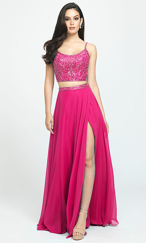 Image of long chiffon two-piece prom dress by Madison James. Style: NM-19-129 Detail Image 3