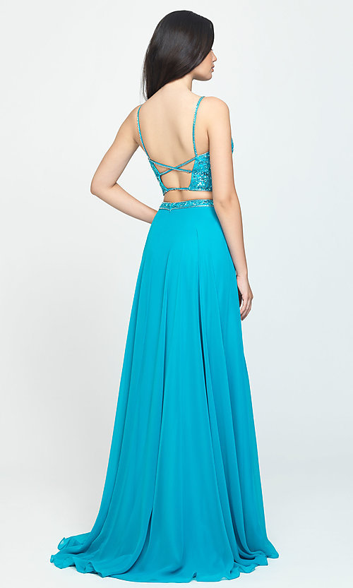 Image of long chiffon two-piece prom dress by Madison James. Style: NM-19-129 Back Image