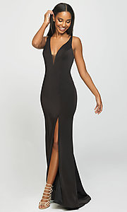 Image of open-back long formal prom dress with train. Style: NM-19-139 Detail Image 5