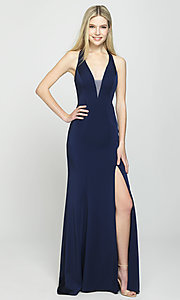 Image of open-back long formal prom dress with train. Style: NM-19-139 Detail Image 6