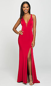 Image of open-back long formal prom dress with train. Style: NM-19-139 Detail Image 3