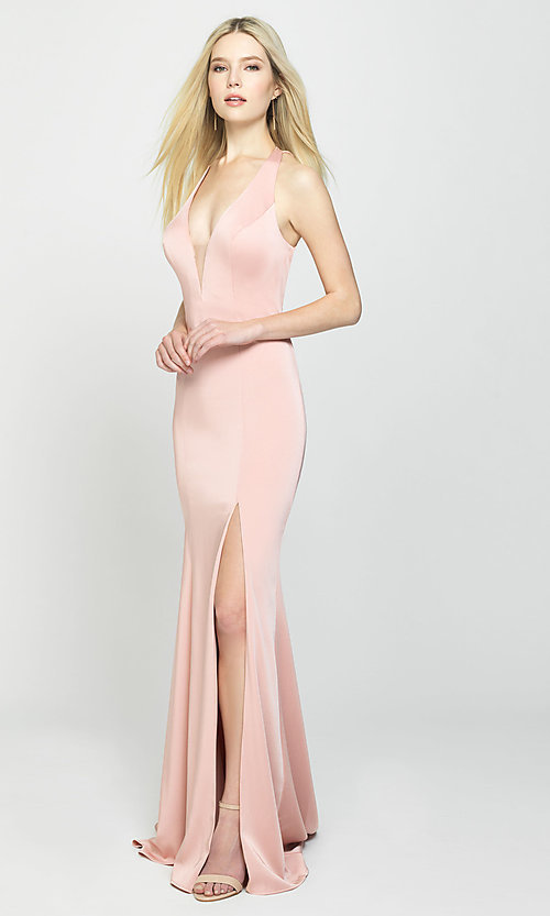 Image of open-back long formal prom dress with train. Style: NM-19-139 Detail Image 4