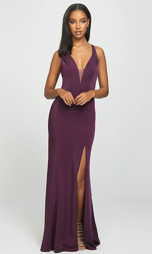 Image of open-back long formal prom dress with train. Style: NM-19-139 Front Image