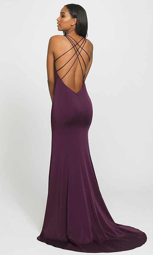Image of open-back long formal prom dress with train. Style: NM-19-139 Back Image