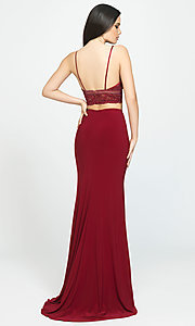 Image of beaded-top Madison James two-piece prom dress. Style: NM-19-151 Back Image