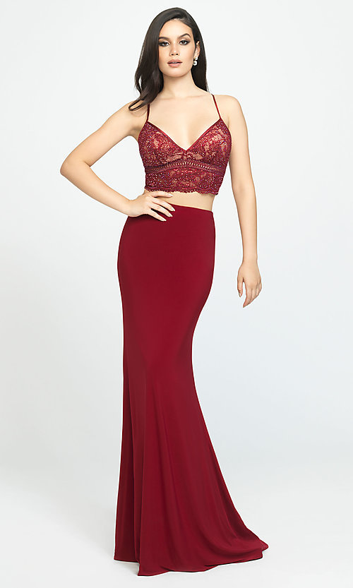 Image of beaded-top Madison James two-piece prom dress. Style: NM-19-151 Front Image
