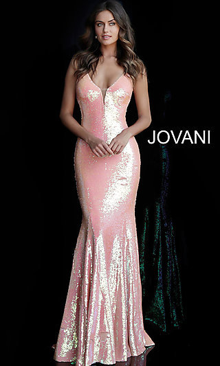 Long Jovani Open V-Back Sequin Formal Gown