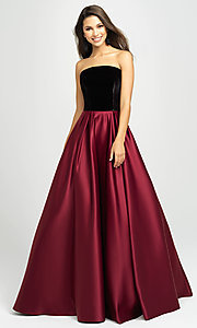 Image of strapless long formal prom dress by Madison James. Style: NM-19-155 Detail Image 1