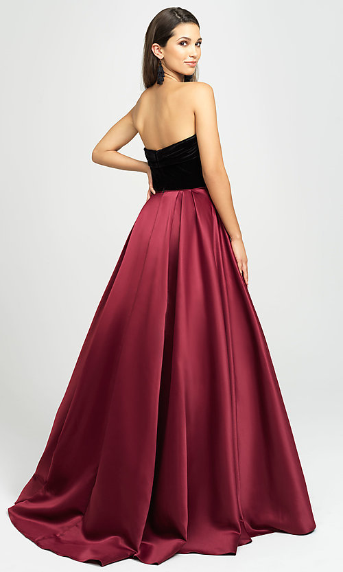 Image of strapless long formal prom dress by Madison James. Style: NM-19-155 Back Image
