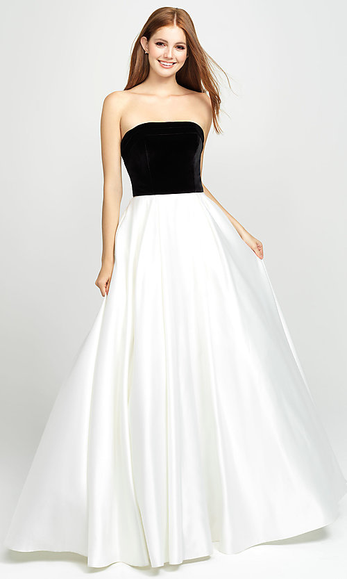Image of strapless long formal prom dress by Madison James. Style: NM-19-155 Front Image