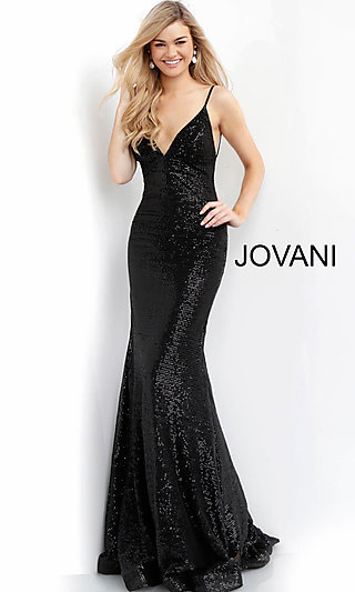 Long Black Sequin Open-Back Formal Gown by Jovani