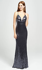Image of empire-waist long sequin sparkly formal prom dress. Style: NM-19-158 Detail Image 1