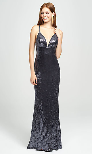Empire-Waist Long Sequin Sparkly Formal Prom Dress