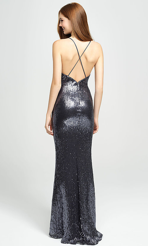 Image of empire-waist long sequin sparkly formal prom dress. Style: NM-19-158 Back Image