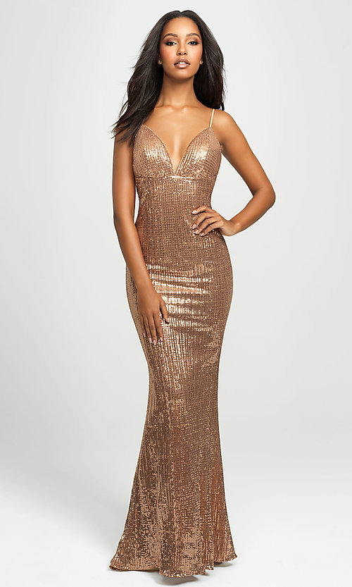 Image of empire-waist long sequin sparkly formal prom dress. Style: NM-19-158 Front Image