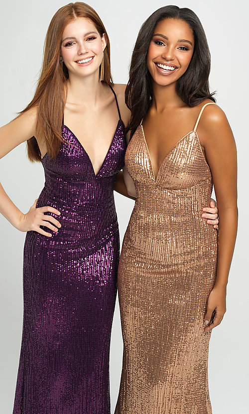 Image of empire-waist long sequin sparkly formal prom dress. Style: NM-19-158 Detail Image 3