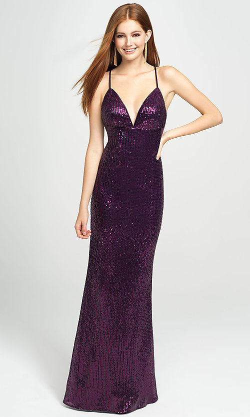 Image of empire-waist long sequin sparkly formal prom dress. Style: NM-19-158 Detail Image 2