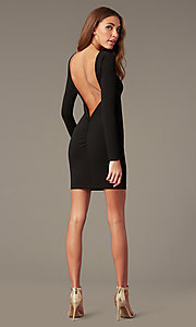 Image of open-back high-neck homecoming dress with sleeves. Style: SY-ID6657AP Detail Image 3