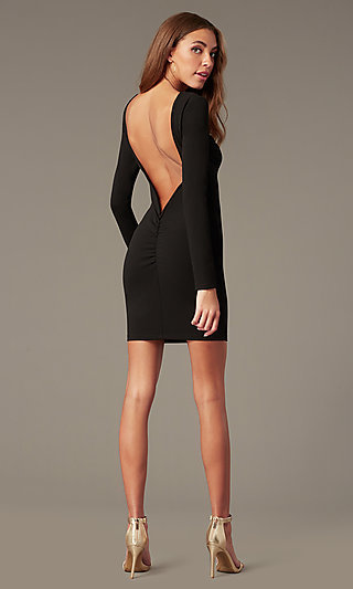 Open-Back High-Neck Homecoming Dress with Sleeves