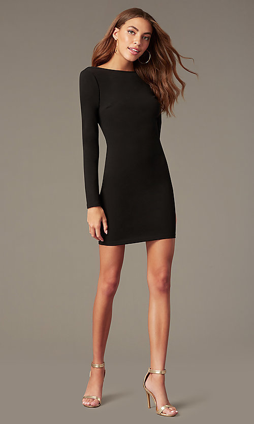 Image of open-back high-neck homecoming dress with sleeves. Style: SY-ID6657AP Detail Image 4