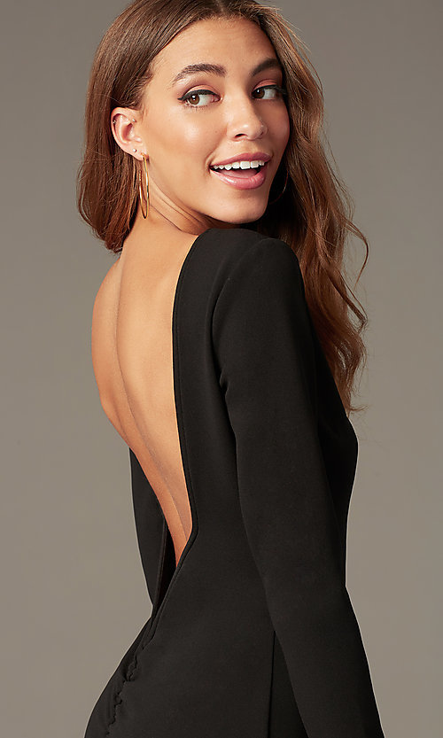 Image of open-back high-neck homecoming dress with sleeves. Style: SY-ID6657AP Detail Image 2